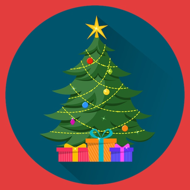 Christmas tree with decorations and presents Premium Vector