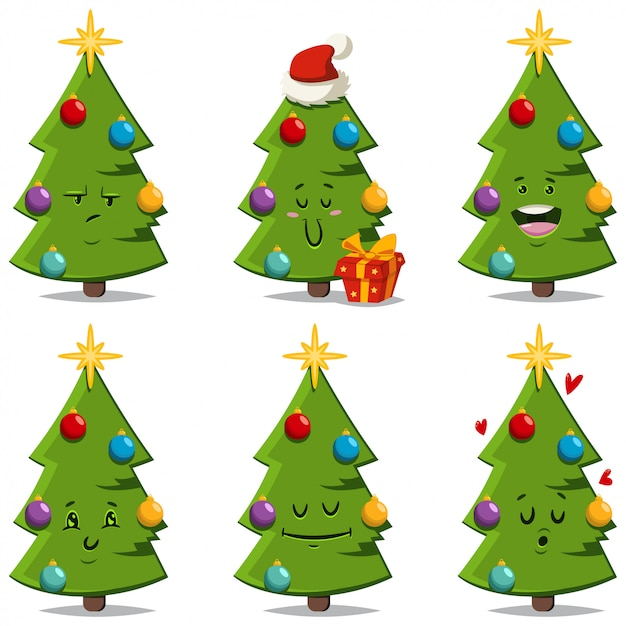 Premium Vector Christmas Tree With Different Face Expressions And Emotions Vector Cartoon Funny And Cute Decorated Holiday Spruce Character Isolated Find cute cartoon pictures from our collection of adorable images. https www freepik com profile preagreement getstarted 6120171