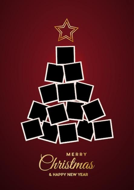Christmas tree with empty frames Premium Vector
