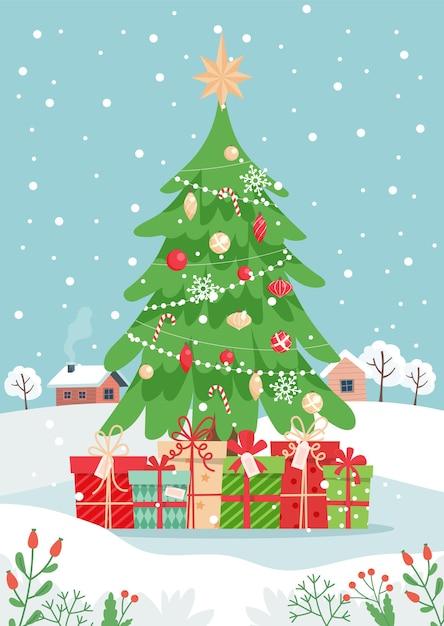 선물 및 겨울 풍경 크리스마스 트리입니다. 귀엽다 프리미엄 벡터