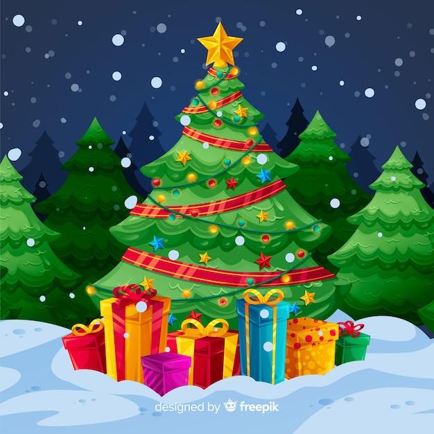 Albero Di Natale Con Regali.Albero Di Natale Con Sfondo Di Regali Vettore Gratis