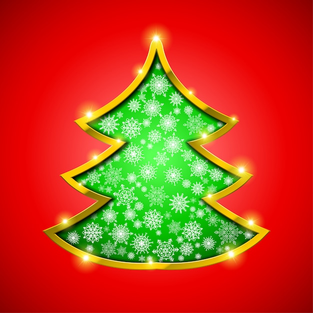 Christmas tree with golden border, snowflakes and sparkles Premium Vector