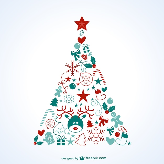 Christmas Tree With Icons Vector Free Download