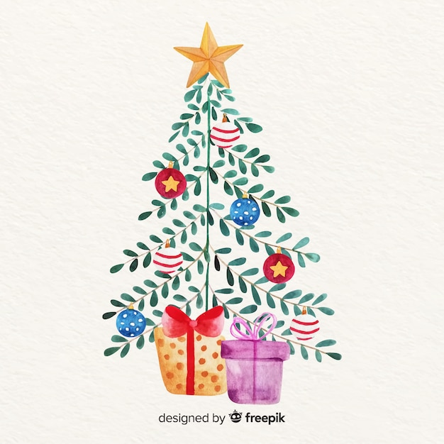 Christmas tree with leaves and gifts Free Vector