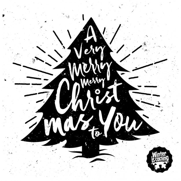 Christmas tree with lettering Free Vector