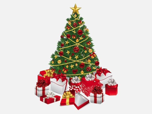 Christmas tree with many presents vector free download