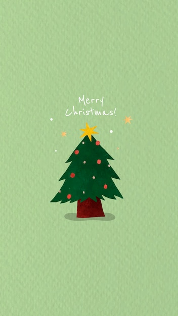 Christmas tree with merry christmas message Free Vector