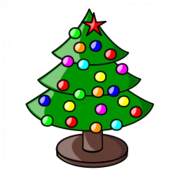 Christmas Tree With Multicolor Balls Free Vector