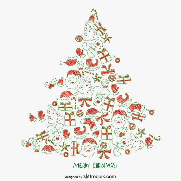 Christmas Tree With Ornaments Vector Free Download
