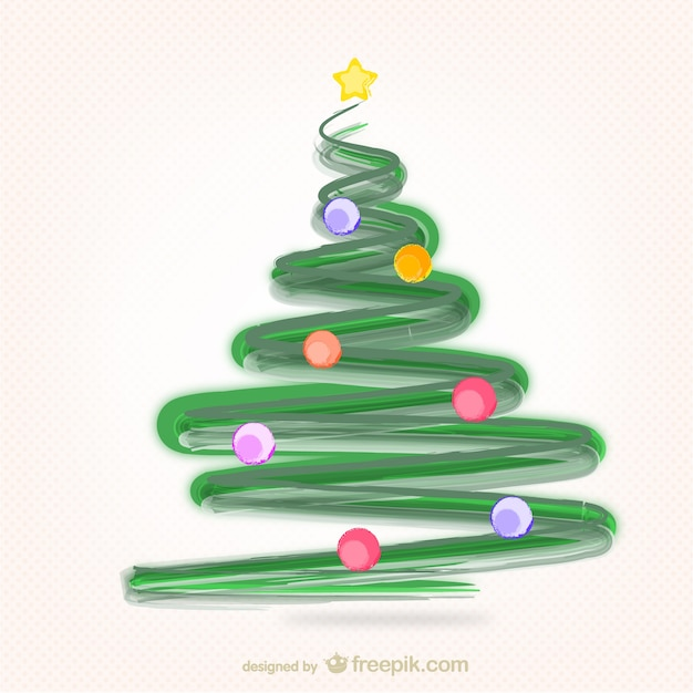 christmas tree with paint strokes free vector - How To Paint A Christmas Tree