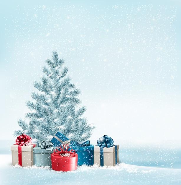 プレゼントの背景とクリスマスツリー。 Premiumベクター