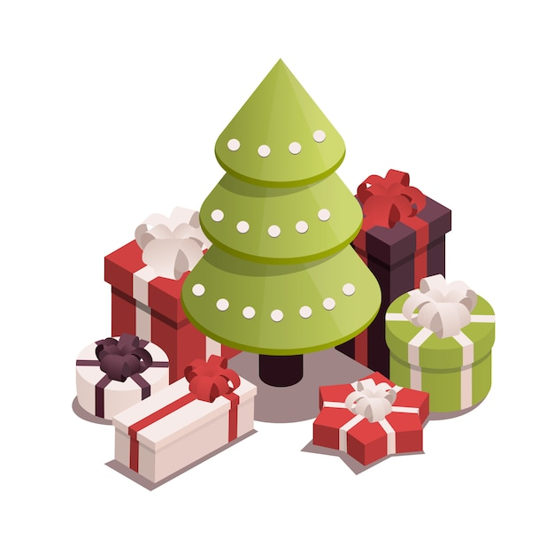 Christmas tree with presents. Premium Vector