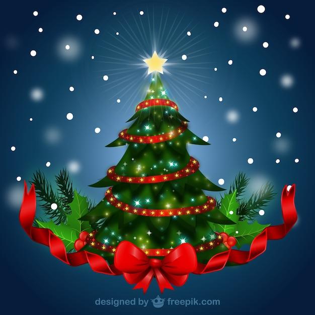 빨간 리본으로 크리스마스 트리 무료 벡터