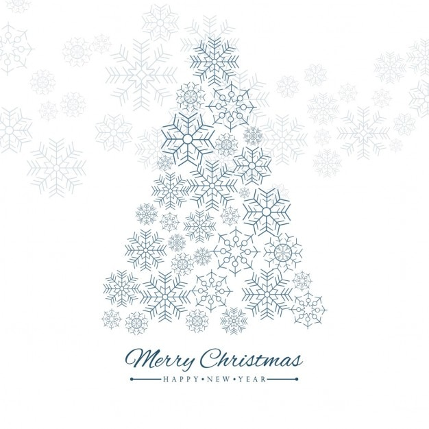 Christmas tree with snowflakes Free Vector