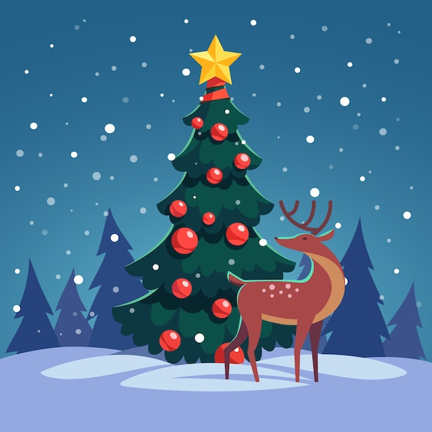 christmas tree with wild reindeer in the forest free vector - Pictures For Christmas