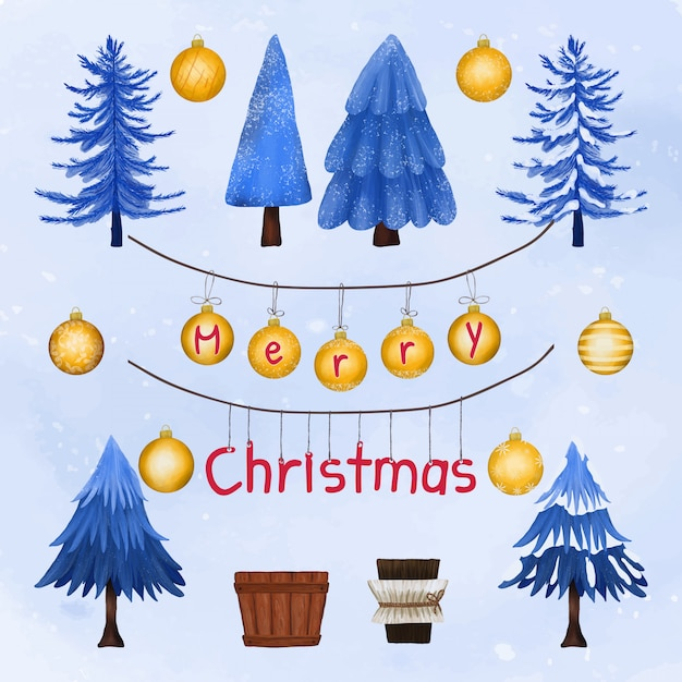 Christmas trees and decoration greeting card Premium Vector