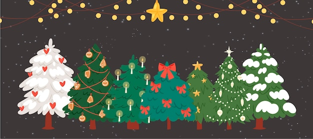 Christmas trees, firs with garlands and lights Premium Vector