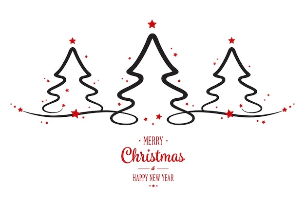 Christmas trees greeting white background vector premium - Silueta arbol de navidad ...