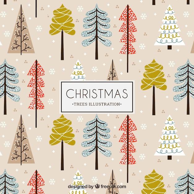 Christmas trees illustration pattern Premium Vector