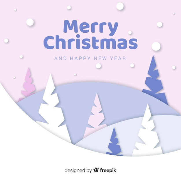 Christmas trees in paper style Free Vector