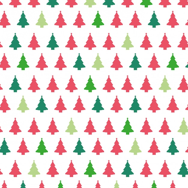 Christmas trees pattern background. Premium Vector