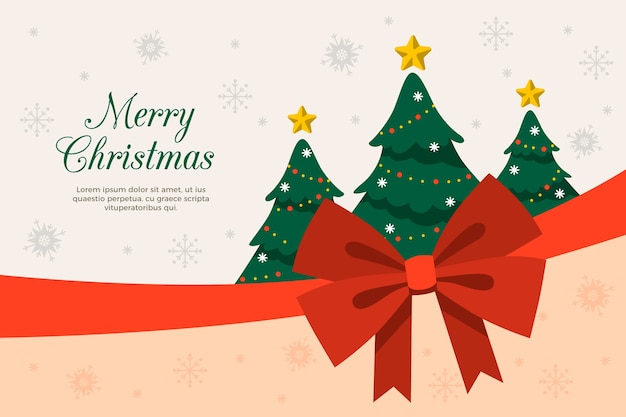 Christmas trees and ribbon background Free Vector