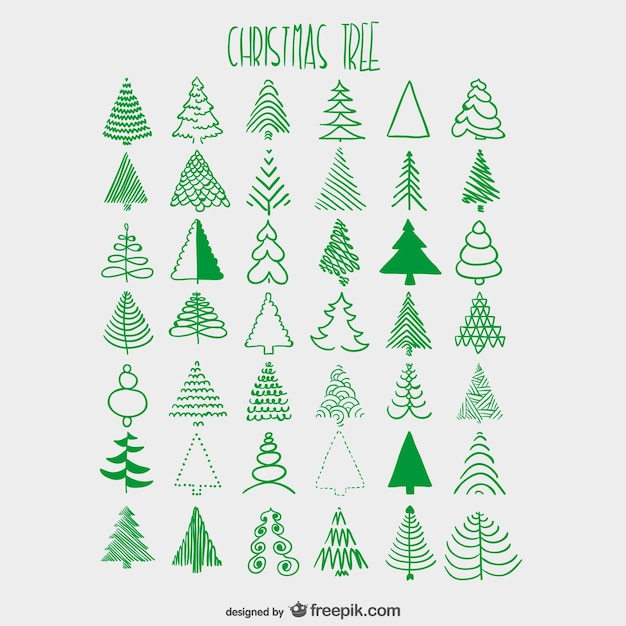 Christmas trees sketches collection Vector | Free Download