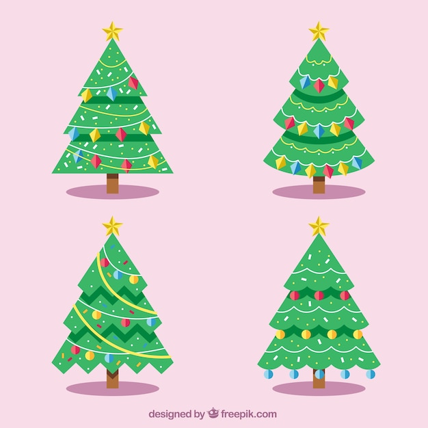 Christmas trees with geometric decoration Free Vector
