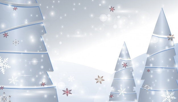 Christmas trees with snowflakes and sparkles.  background Premium Vector