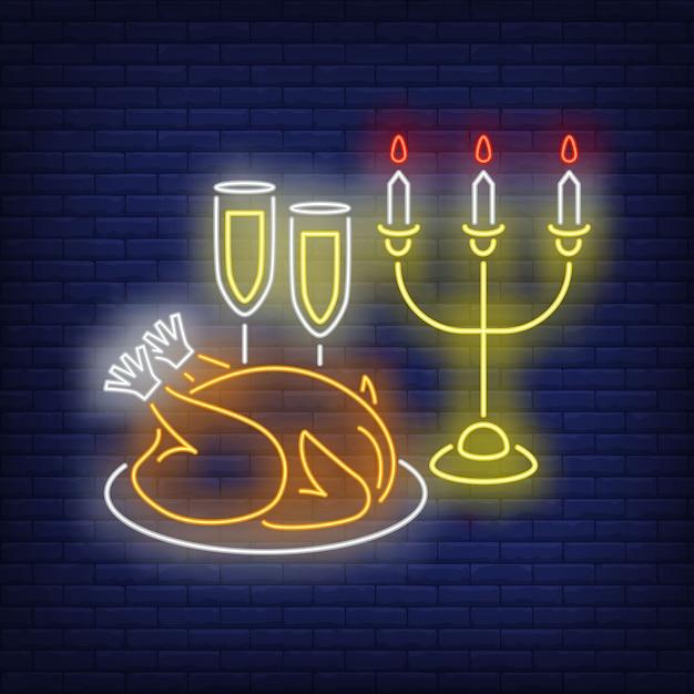 Christmas turkey neon sign Free Vector