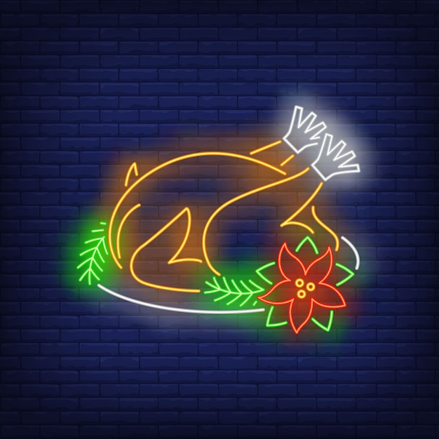 Christmas turkey in neon style Free Vector