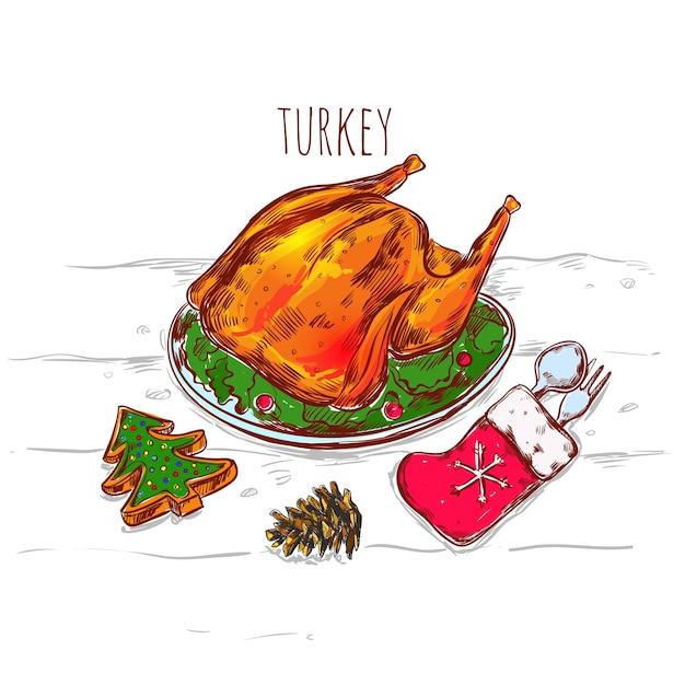 Christmas turkey sketch illustration Free Vector