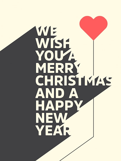 Christmas Typographic Background / Merry Christmas And Happy New ...