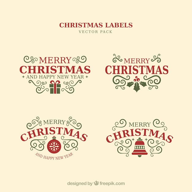 Christmas typographic elements, vintage labels and ribbons Free Vector
