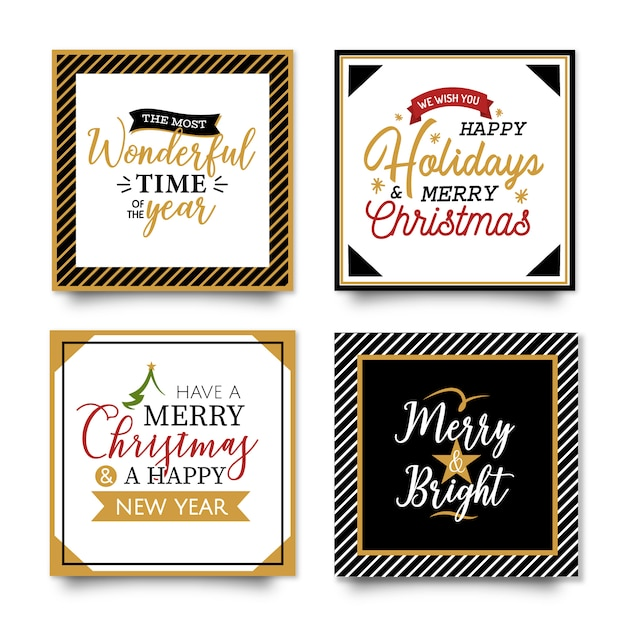 Christmas typography cards Free Vector