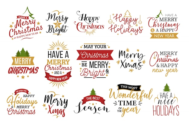Christmas typography set Free Vector