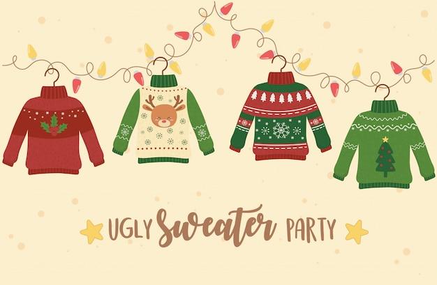 Рождество уродливый свитер украшение партии олень снежинка дерево огни Premium векторы