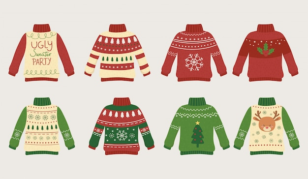 Christmas ugly sweaters party differents Premium Vector