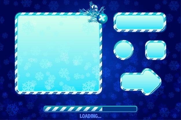 Рождественский пользовательский интерфейс и элементы для игры или веб-дизайна. мультяшные кнопки, доски и рамка. пользовательский интерфейс загрузки игры. Premium векторы