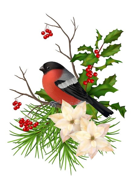 Christmas vector decorative composition. bird, poinsettia flowers with rowan and holly branch Premium Vector