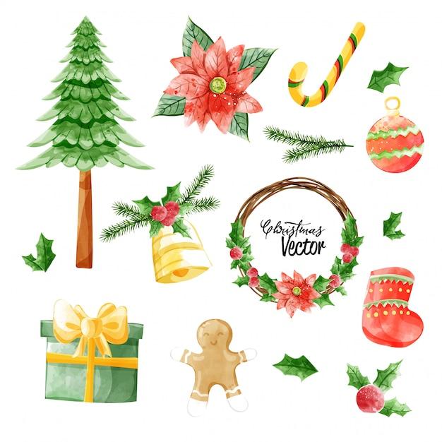 Рождественская векторная коллекция элементов в акварельной живописи. Premium векторы