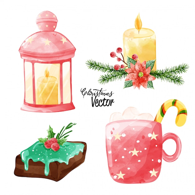 Christmas vector elements collection in watercolor paining style. Premium Vector