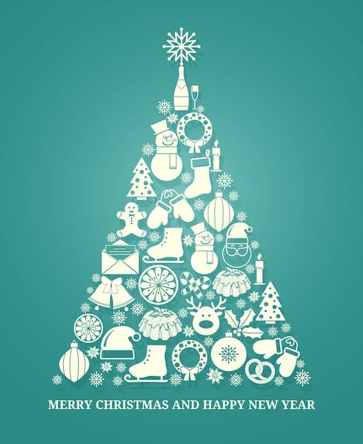 Рождественская векторная поздравительная открытка с деревом, состоящим из множества сезонных значков в белом силуэте, расположенных в форме конического дерева на синем, с текстом ниже на рождество и новый год Бесплатные векторы