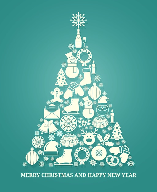 Christmas vector greeting card with a tree composed of a variety of seasonal icons in white silhouette arranged in the shape of a conical tree on blue with text below for xmas and new year Free Vector