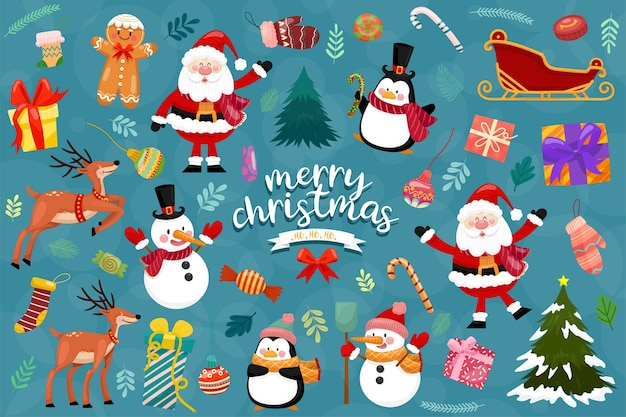 Christmas vector icons new year decoration illustration of xmas christians Free Vector