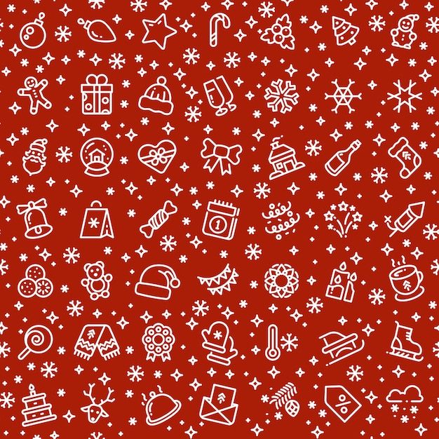 Christmas vector seamless pattern with xmas holiday outline icons Premium Vector