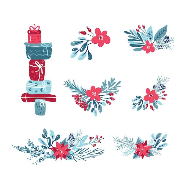 꽃, 가문비 나무 가지, 잎, 선물 상자와 열매와 식물의 크리스마스 벡터 세트 프리미엄 벡터