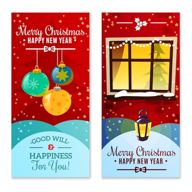 Christmas vertical banners Free Vector