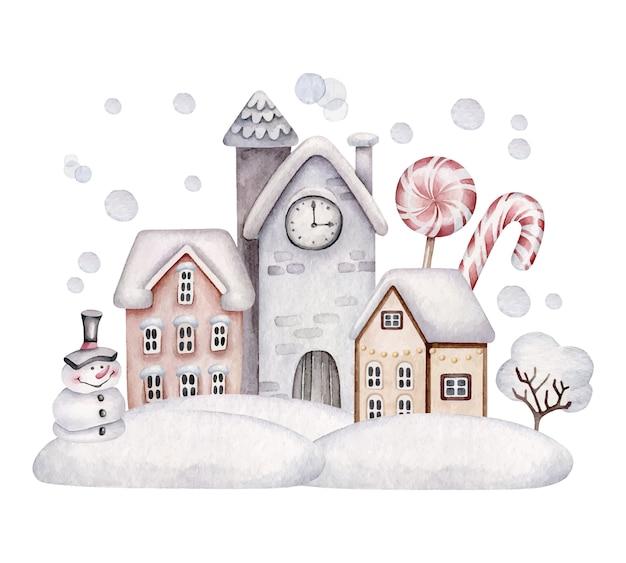 クリスマスの村。冬の風景。雪の中の家。 Premiumベクター