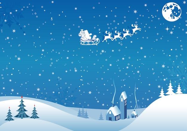 Christmas vintage background with santa and deers Premium Vector